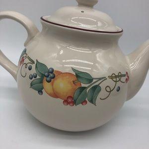 Corelle Coordinates Stoneweare tea pot fruit print